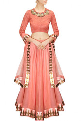 Buy Coral Color Bridal Lehenga Choli Online