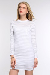 Brand New Stripe Dress with Sheer Detailing in White