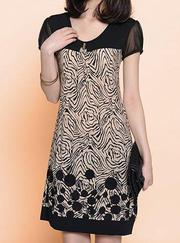 Stylish Short Sleeve Scoop Neck Spliced Printed Loose Fitting Dress Fo