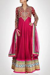 Buy Rose Pink Long Length Anarkali Suit with Pink Border Online