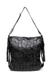 Black Geometrical Patches Leather Jointed Women Purse Hobo Bag with sk