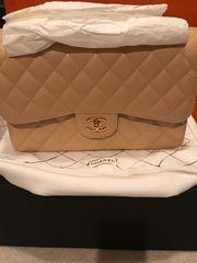 Authentic chanel classic handbag caviar jumbo double flap light beige