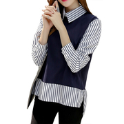 False Two Piece Top Long Sleeve Blouse Striped Patchwork Casual Shirts