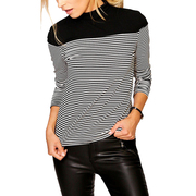 Black And White Striped Shirt High Neck Cotton Slim Long Sleeve Top