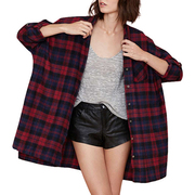Women Vintage Long Sleeve Shirts Loose Casual Plaid Blouse