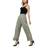 Women's Mid Waist Zip Side Baggy Wide Leg Palazzo Pants