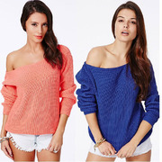 Women's Full Sleeve Off Shoulder Pullover Sweaters