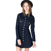 Women's Vintage Slim Denim Mini Dress Pockets Lady Short Dresses