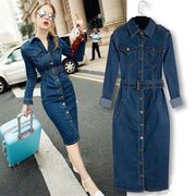 Women's Classic Split Long Sleeve Denim Dress