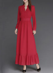 Women's Solid Button Up High Waist Dress Chiffon Maxi Dress