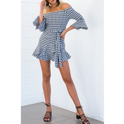 Women's Irregular Plaid Ruffles Dress Strapless Casual Dress