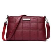 Women Genuine Leather Plaid Messenger Bags Shoulder Bags