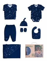 Organic Baby Clothes - Organic New Born Space Printed 7 P - Ejuno