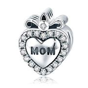 BAMOER 925 Sterling Silver Feathers Angel Wing Heart Shape Charm Bead